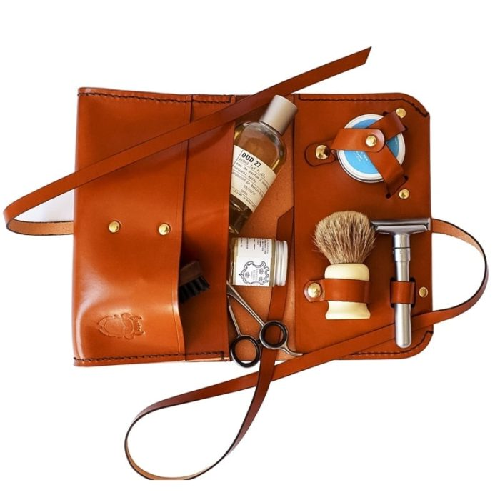 updn leather saddler stitched beard product bag