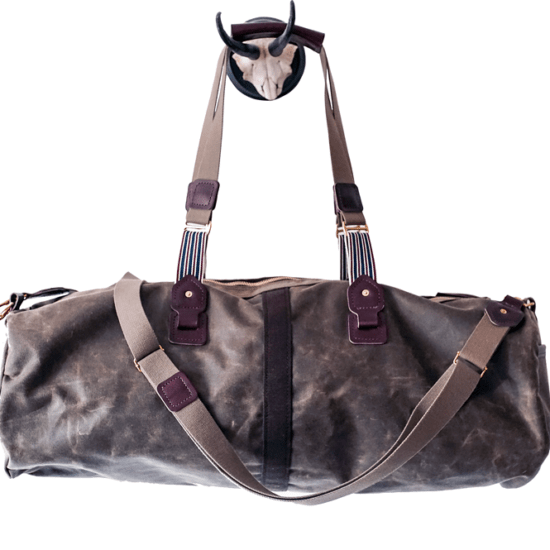 waxed canvas rugged duffel travel bag