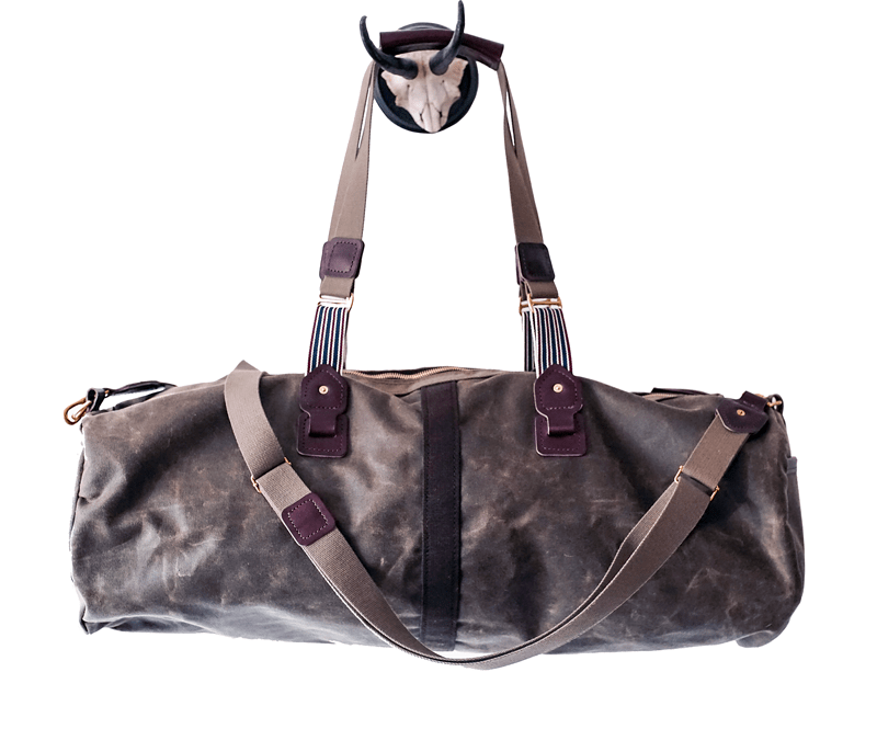 waxed canvas rugged duffel travel bag